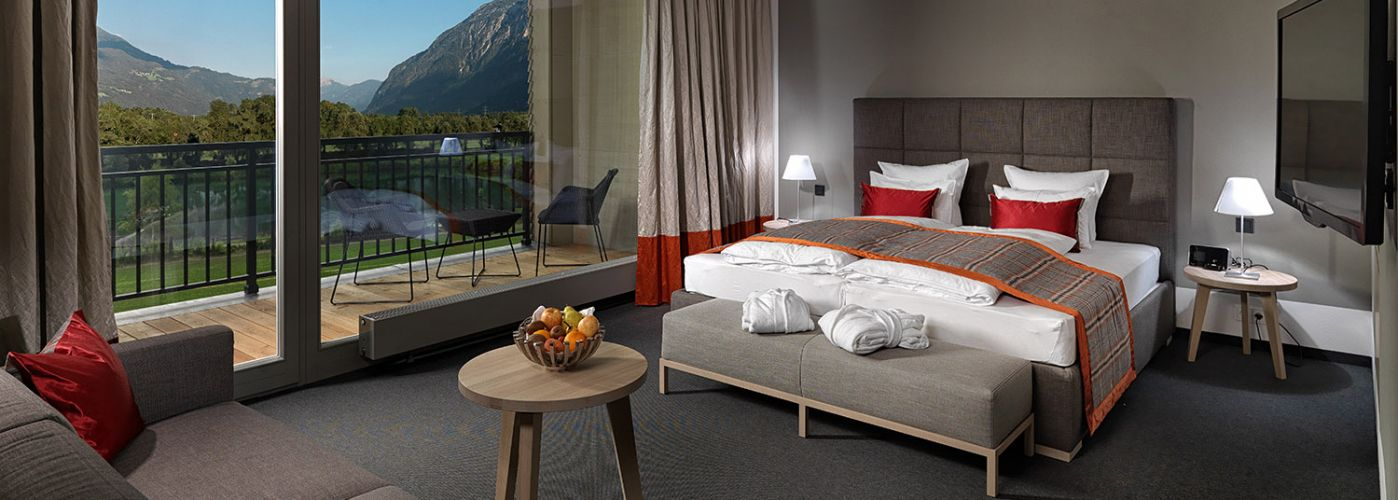 Luxurious hotel room mountain view